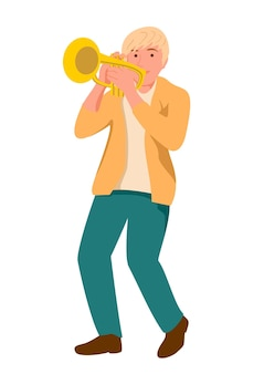 Muzikant speelt trompet instrument jazz muziek jazz zanger concert concept trompettist