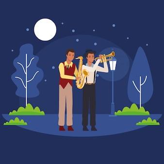 Muzikanten die saxofoon en trompet spelen