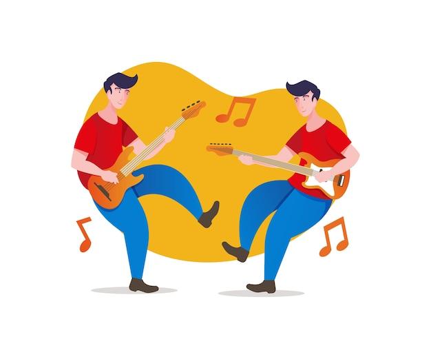 Muzikanten gelukkig spelen muziek samen