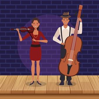 Muzikanten met cello en viool, jazzmuziekband