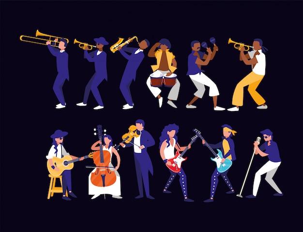 Muzikanten met instrumenten van muziekfestival