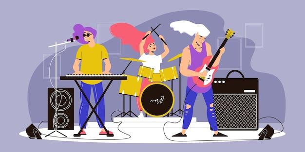 Muzikanten overleggen compositie met uitzicht op het podium met muziekinstrumenten met bandleden die rockmuziek spelen
