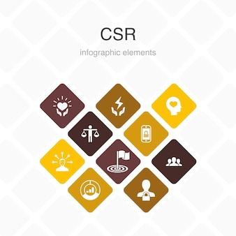 Mvo infographic 10 optie kleurontwerp. verantwoordelijkheid, duurzaamheid, ethiek, doel eenvoudige pictogrammen