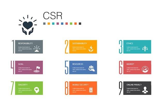 Mvo infographic 10 optie lijn concept.verantwoordelijkheid, duurzaamheid, ethiek, doel eenvoudige pictogrammen