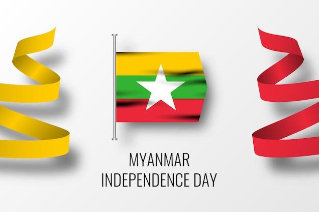 Myanmar onafhankelijkheidsdag viering illustratie ontwerp