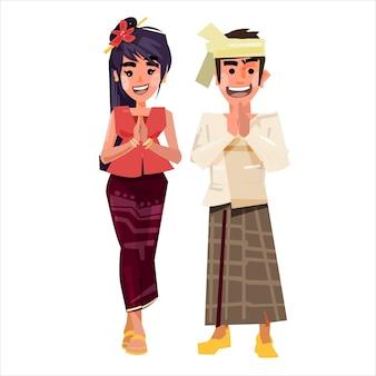 Myanmar-paar in traditionele klederdracht