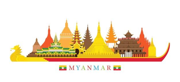 Myanmar skyline oriëntatiepunten