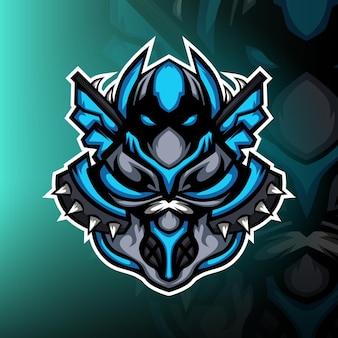 Mysterieus blauw ninja esport mascotte-logo