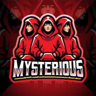 Mysterieus esport-mascotte-logo-ontwerp