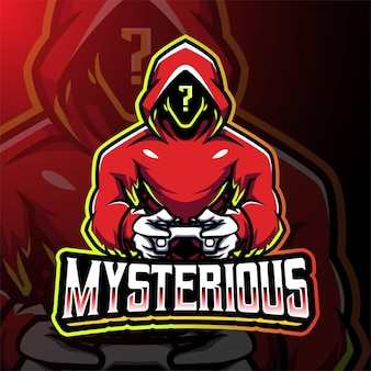 Mysterieus gamer esport-mascotte-logo-ontwerp