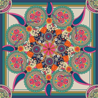 Mysterieus mandala-achtergrondontwerp met bloemenelementen