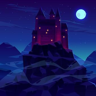 Mysterieus middeleeuws kasteel met spitsen van steentorens