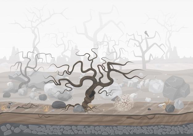Mysterieus spookachtig bos in mist