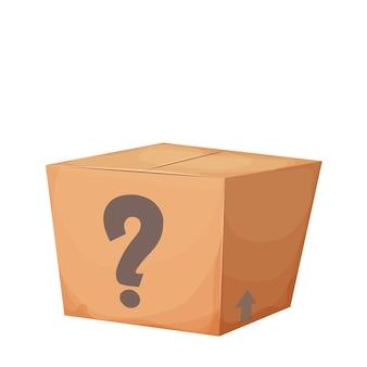 Mysterieuze kartonnen doos met gesloten vraag in cartoonstijl