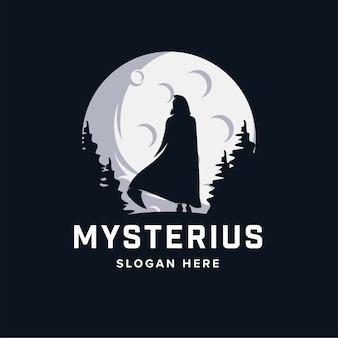 Mysterieuze man met gewaad logo ontwerpsjabloon