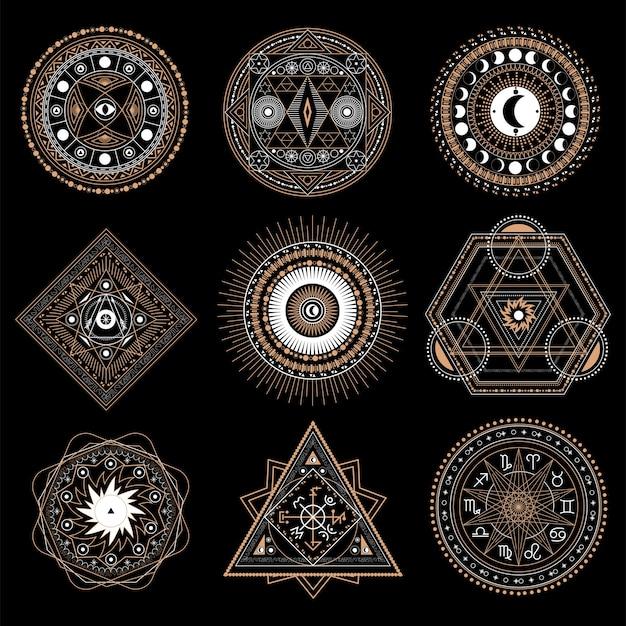 Mystic cirkelsymbool dat op donkere achtergrond wordt geïsoleerd