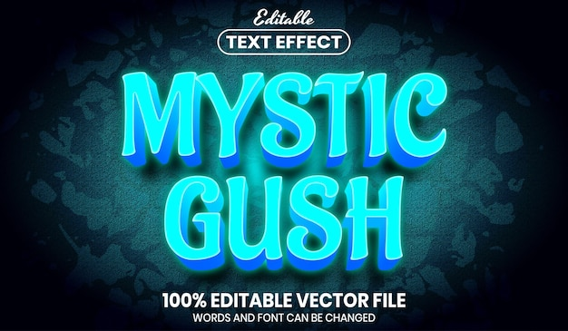 Mystic gush-tekst, bewerkbaar teksteffect in lettertypestijl