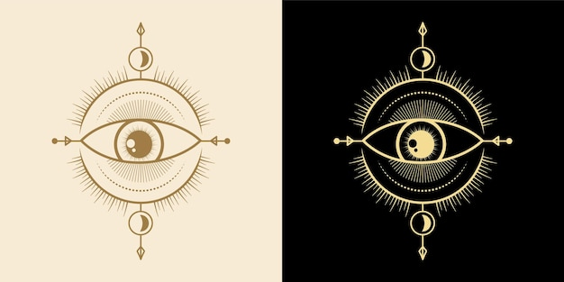 Mystiek alziend oog handgetekende magie hekserij talisman magische esoterische ogen heilige geometrie