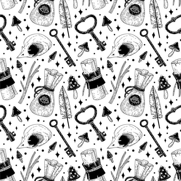 Mystiek vector naadloos patroon met handgetekende magische en occulte illustraties.