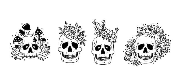 Mystieke bloemenschedel clipart boho schedel cactus sappige paddestoel menselijke schedel halloween vector