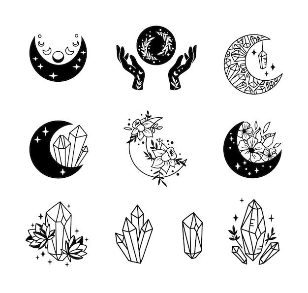 Mystieke boho bloemen maan geïsoleerde cliparts bundel hemelse collectie maan en bloemen set Premium Vector