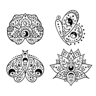 Mystieke boho hemelse vlinder en bloemen geïsoleerde cliparts bundel mystieke collectie