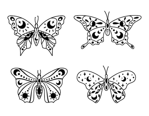 Mystieke boho hemelse vlinder en mot geïsoleerde cliparts bundel mystieke collectie