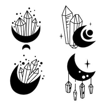 Mystieke boho kristal maan geïsoleerde cliparts bundel hemelse collectie maan en kristallen set Premium Vector