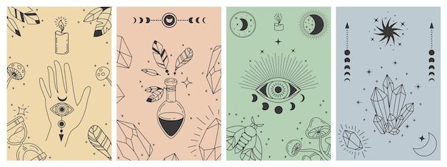 Mystieke boho-posters. esoterische lijnafdrukken met astrologische symbolen, kristallen, drankje, boze oog en occulte hand. tarotkaart vector concepten. illustratie esoterische astrologie afdrukken, occult symbool