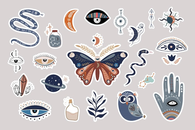 Mystieke boho stickers collectie esoterisch