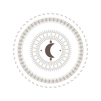 Mystieke cirkel symbool met maan geïsoleerd op een witte achtergrond