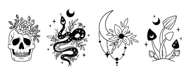 Mystieke halloween-bundel hemelse slang bloemenschedel maan en magische paddestoel cliparts