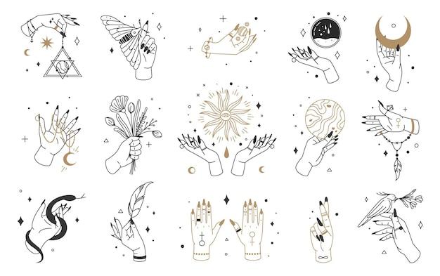 Mystieke heks handen logo esoterische elementen magische kristallen maan sieraden boho hekserij tarotkaarten