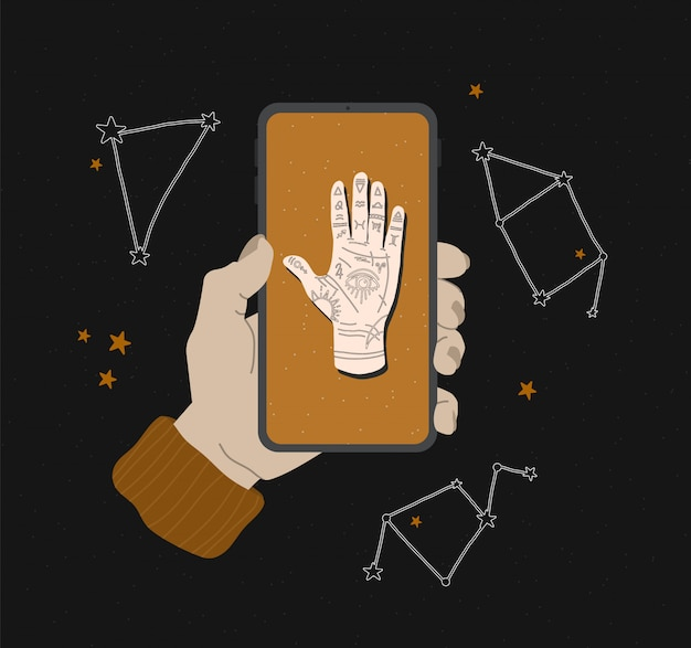 Mystieke illustratie van mudra hand met sterrenbeelden. astrologisch en esoterisch concept. heromantie met het alziende oog. voorraadafbeeldingen voor websiteontwerp, toepassingen en afdrukken op stof