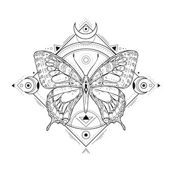 Mystieke insectentatoegering. gravure van mystiek spiritueel schetsontwerp. alchemie vrijmetselarij occulte vector symbool. tattoo schets vrijmetselarij, dier schetsmatige illustratie