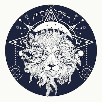 Mystieke leeuw tattoo art