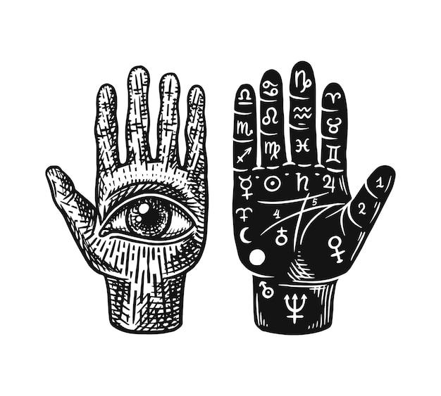 Mystieke magische handlijnkunde geïsoleerd op wit