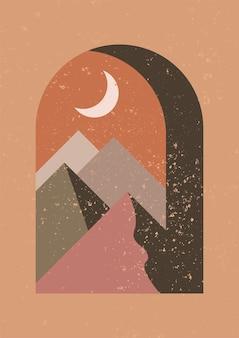 Mystieke nachtvenster minimalistische geometrische kunst aan de muur abstract landschap voor boho esthetisch interieur
