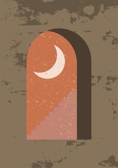 Mystieke nachtvenster minimalistische geometrische muurkunst landschap voor boho-esthetisch interieur