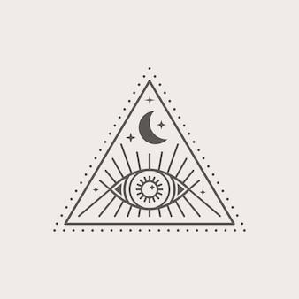 Mystieke oog- en maanpictogram in een trending minimale lineaire stijl. isoterische vectorillustratie voor t-shirt prints, boho posters, covers, logo en tatoeages.