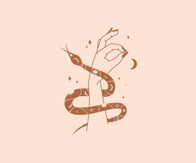 Mystieke slang wikkelt zich om vrouwelijke mooie handen met magische elementen van maansterren