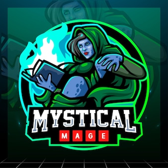 Mystieke tovenaarmascotte. esport logo ontwerp