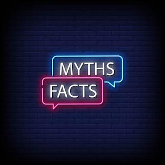 Mythen feiten neon signs style text