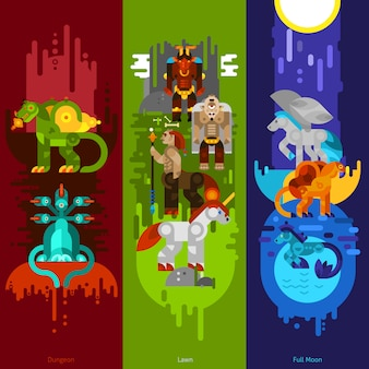 Mythical creatures banners vertical