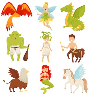 Mythische sprookjeswezens set, centaur, pegasus, griffin, medusa gorgon, mermaid, dragon, flaming phoenix bird illustration