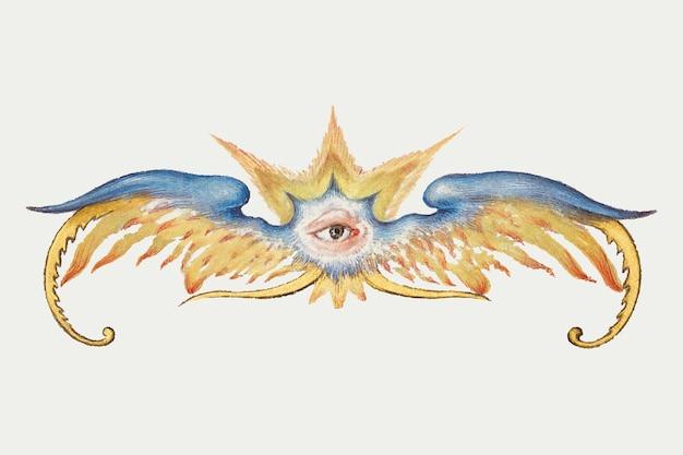 Mythische vleugels met oog