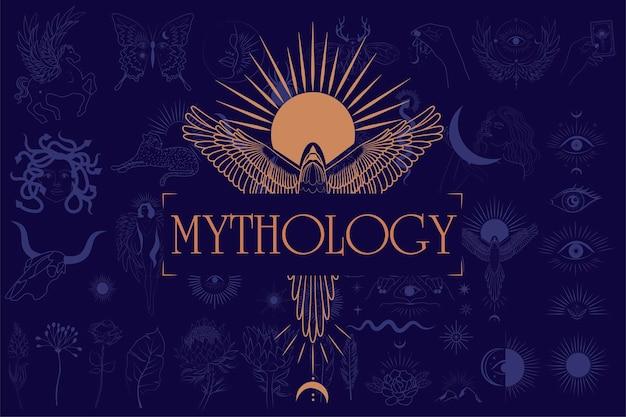 Mythologie en mystieke illustratie in handgetekende stijl met zon en feniks, mythisch wezen, esoterische en boho-objecten.
