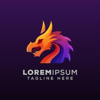 Mythologische draak kleurrijke logo illustratie
