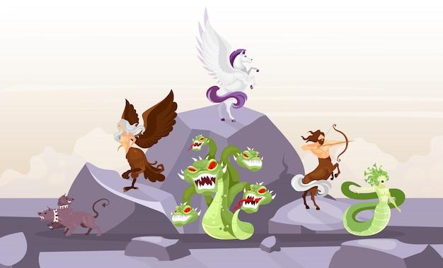 Mythologische wezens vlakke afbeelding. hydra en cerberus. pegasus en harpij. centaurus en meduse gorgone. fairy beesten op de berg. griekse mythologie. fantastische stripfiguren