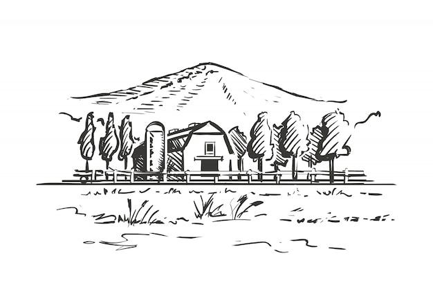 N boerderij op een witte achtergrond